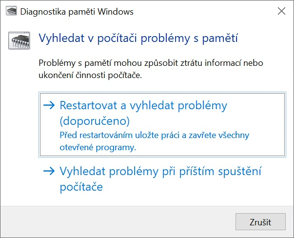 Diagnostika paměti ve Windows 10 - 2