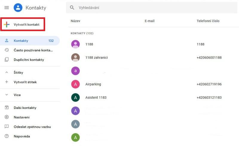 Telefonní kontakty na Google 2