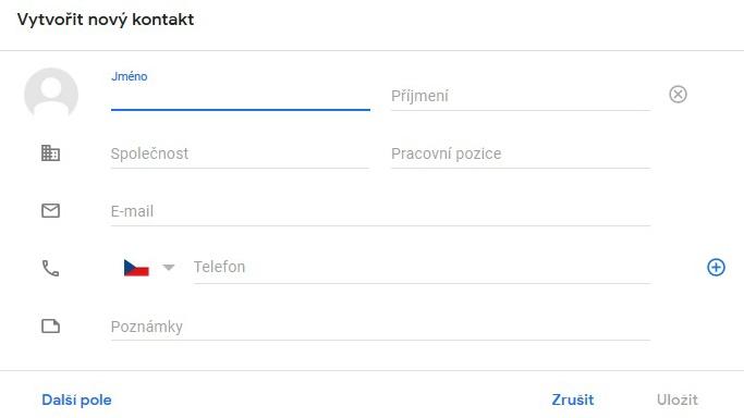 Telefonní kontakty na Google 3