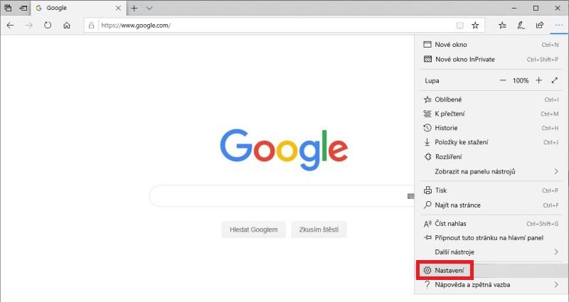 Google vyhledávač v Microsoft Edge 1