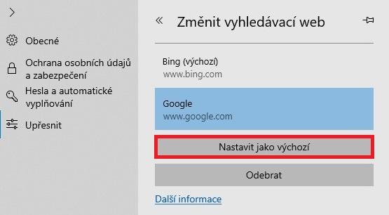 Google vyhledávač v Microsoft Edge 4