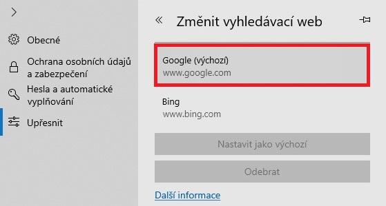 Google vyhledávač v Microsoft Edge 4 - 2