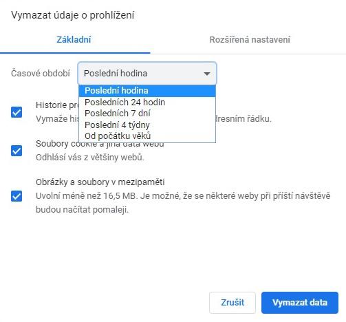 Jak vymazat údaje o prohlížení v Google Chrome