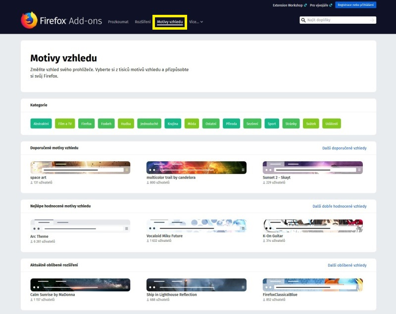 Mozilla Firefox doplňky 6