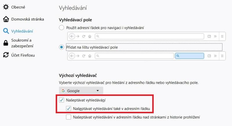 Našeptávač Mozilla Firefox