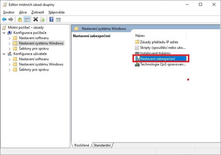 Nastavení zabezpečení systému Windows 10