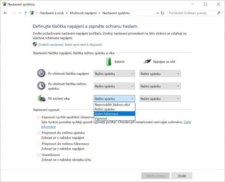 Hibernace Windows 10 -