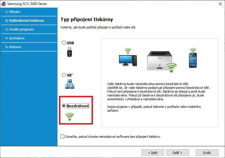 Připojení tiskárny Samsung přes wifi - 01