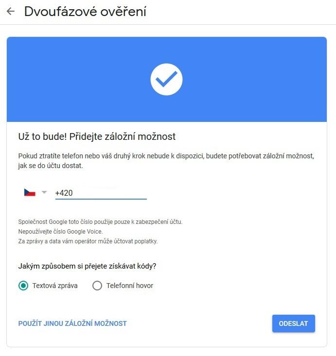 Dvoufazové ověření Google Gmail 10