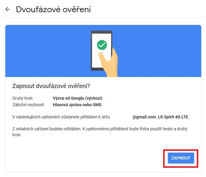 Dvoufazové ověření Google Gmail 12