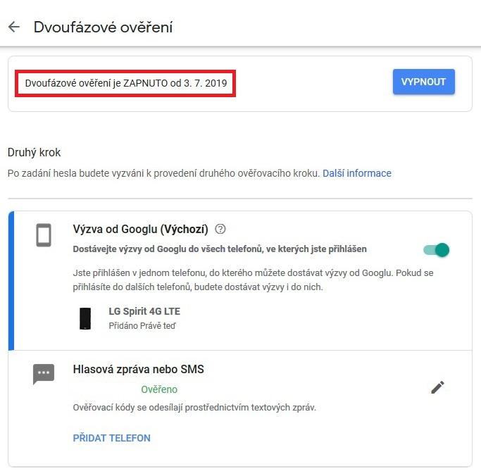 Dvoufazové ověření Google Gmail 13