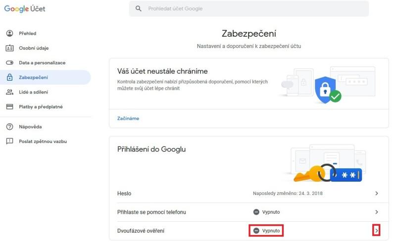 Dvoufazové ověření Google Gmail 2