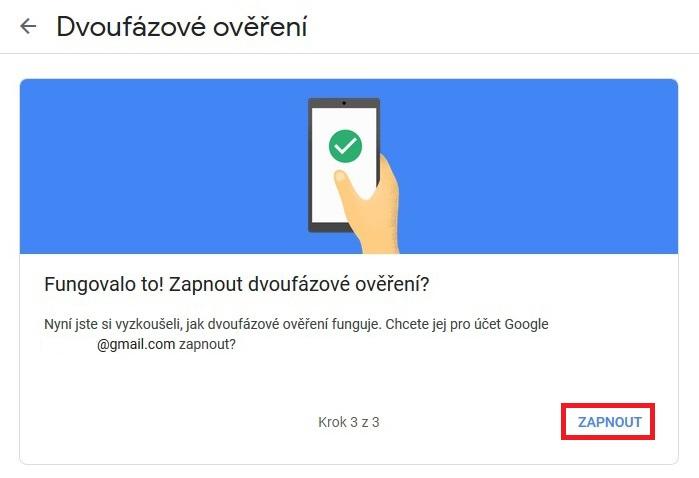 Dvoufazové ověření Google Gmail 7