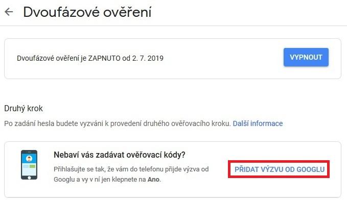 Dvoufazové ověření Google Gmail 8