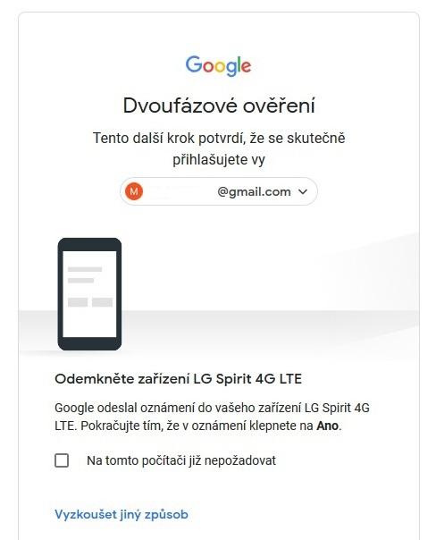 Dvoufázové ověření Google - zrušení