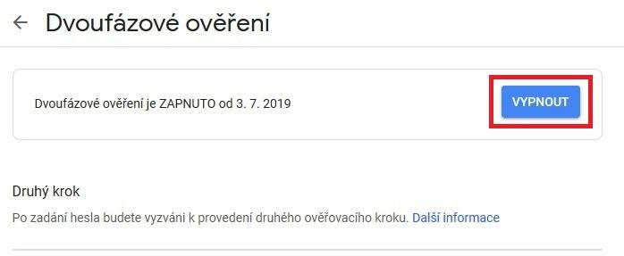 Dvoufázové ověření Google - zrušení 2