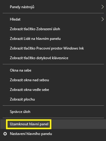 Uzamknout hlavní panel Windows 10