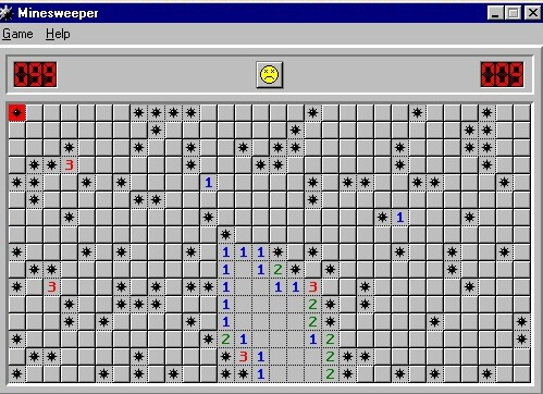 Minesweeper - hra miny ve Wondows 95