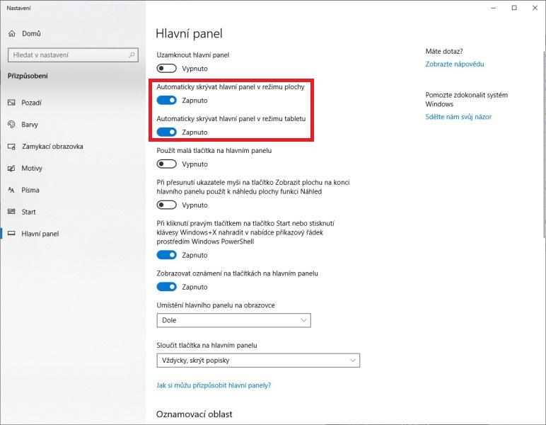 Automatické skrývání hlavního panelu ve Windows 10 - 2
