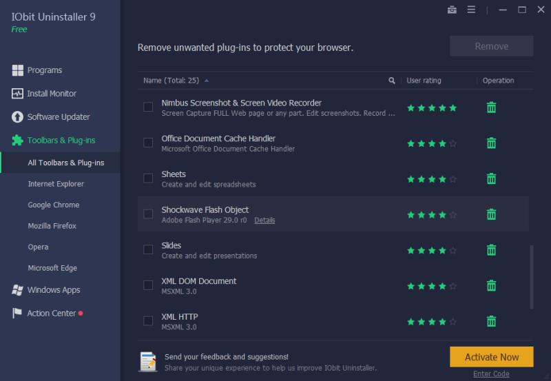 iObit Uninstaller 9 - toolbars plugins