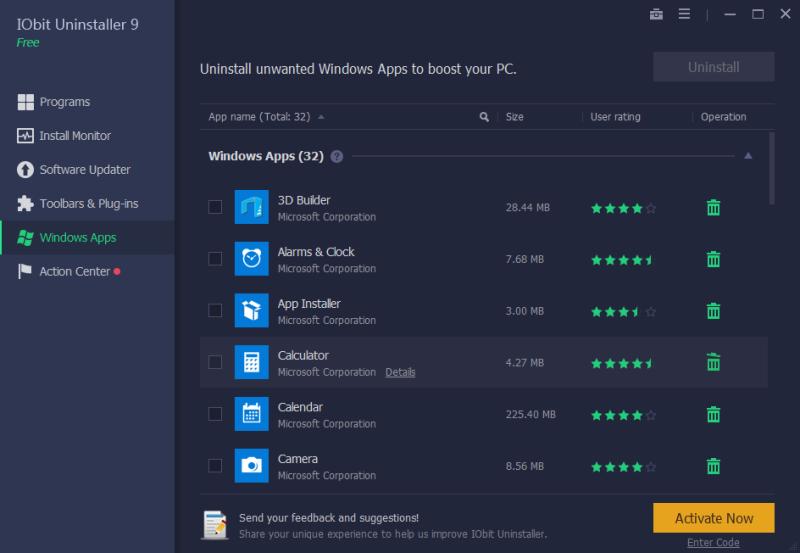 iObit Uninstaller 9 - windows aplikace