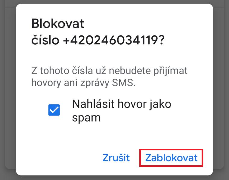 Jak zablokovat telefonní číslo 3