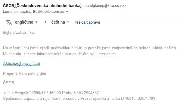 Podvodný mail ČSOB