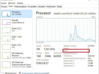 Správce úloh - výkon procesoru - Windows 10