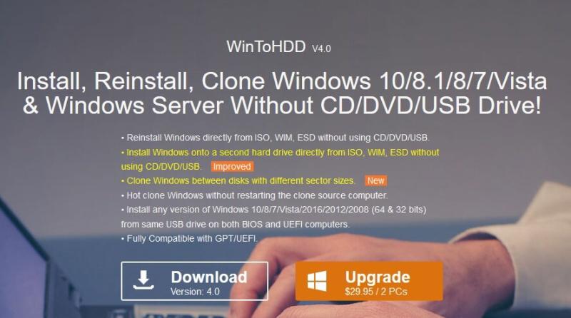 WinToHDD - program na klonování pevného disku zdarma 1