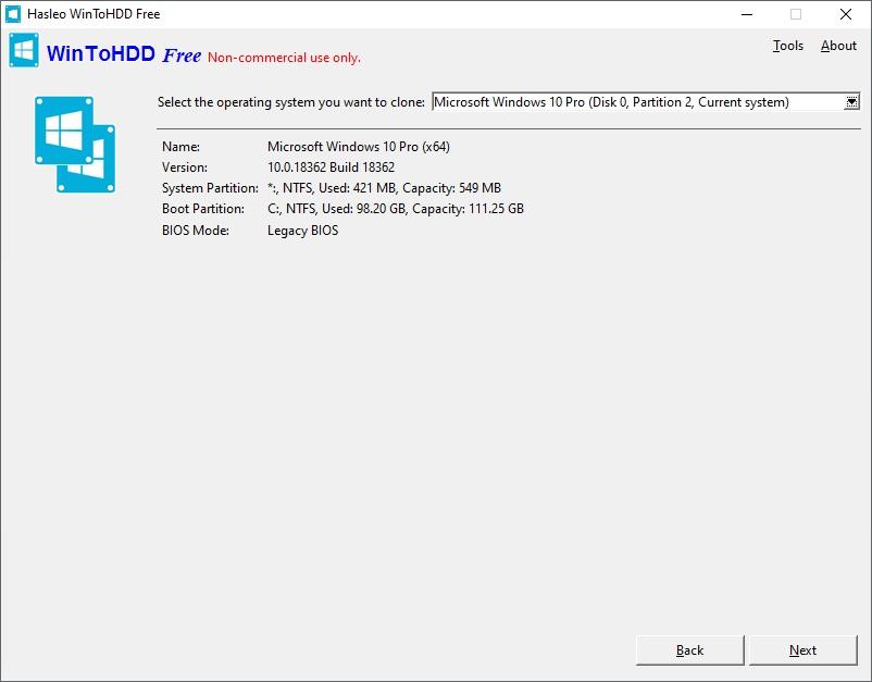 WinToHDD - program na klonování pevného disku zdarma 6