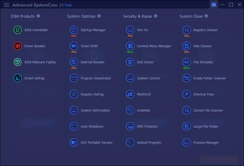 Advanced SystemCare 13 - 10 sada nástrojů
