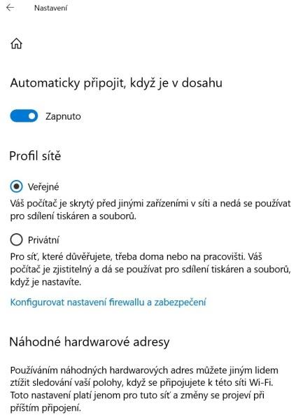 Náhodné hardwarové adresy Wi-Fi 1