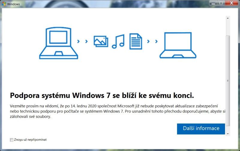 Podpora Windows 7 končí už v lednu 2020
