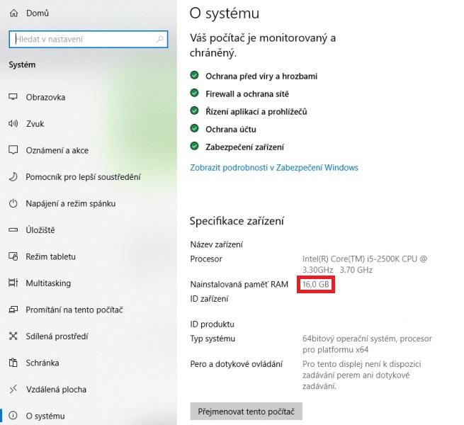 Windows 10 specifikace zařízení