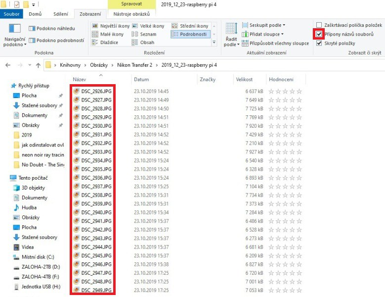 Zobrazení přípon souborů ve Windows 10 2
