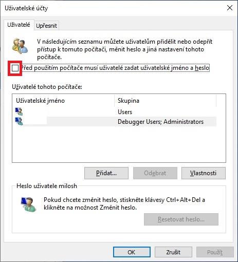 Automatické přihlášení do Windows 10 - 2