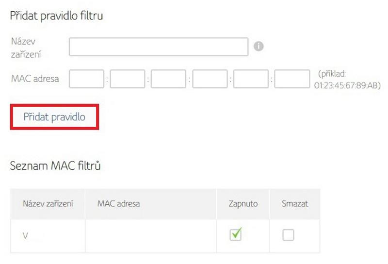 Filtrování mac adresy v routeru Compal 2