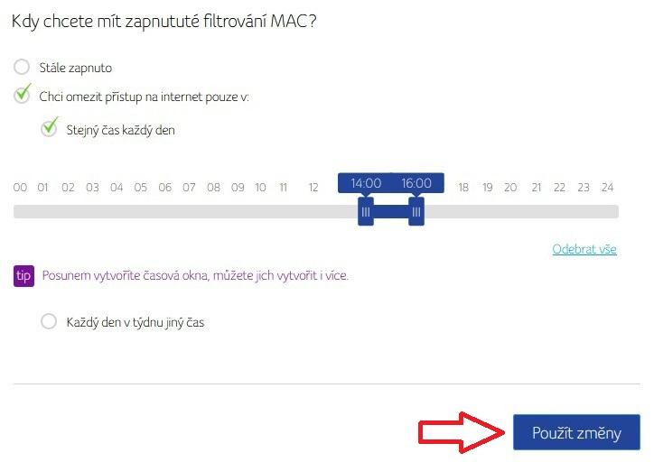 Filtrování mac adresy v routeru Compal 3