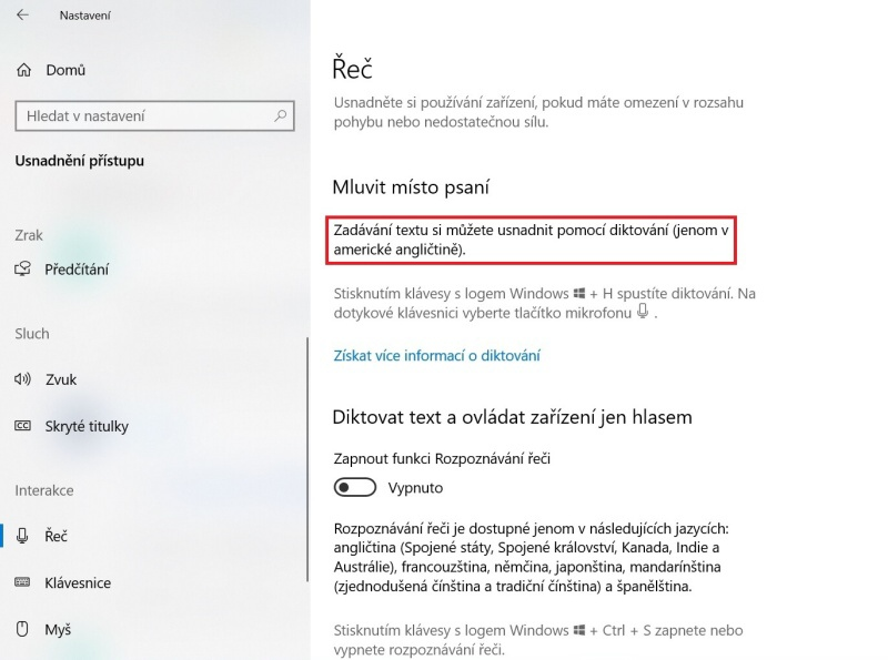 Ovládání hlasem Windows 10