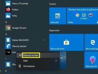 Připnutí aplikace na obrazovku Start ve Windows 10