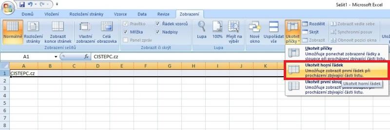 Ukotvení řádku v Excelu
