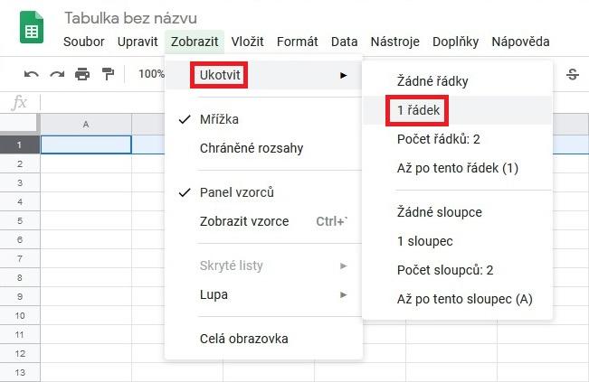 Ukotvení řádku v Google tabulce