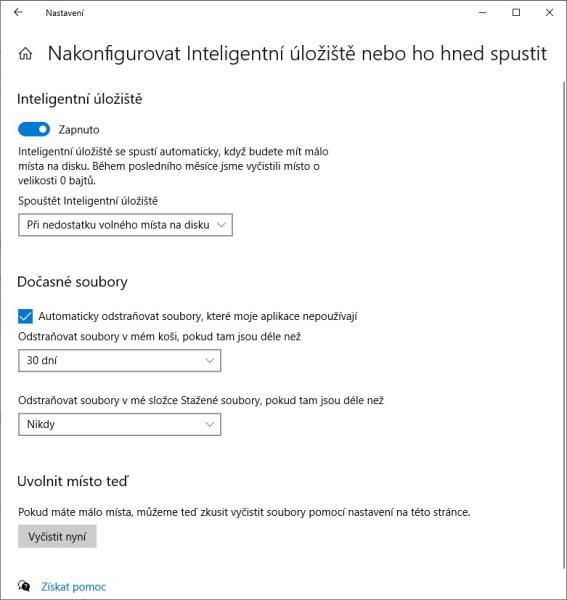 Inteligentní úložiště ve Windows 10 - 2