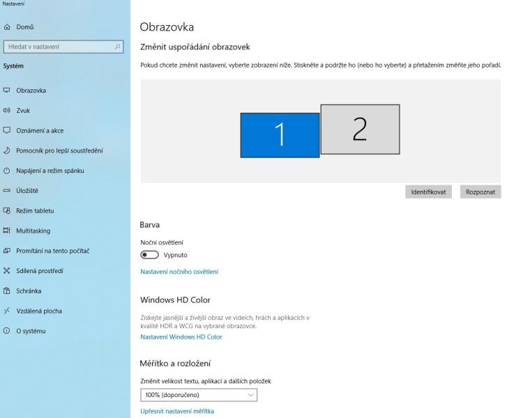Nastavení 2 monitorů na pc ve Windows 10