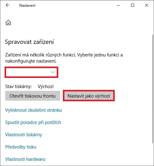 Nastavení výchozí tiskárny ve Windows 10 - 4
