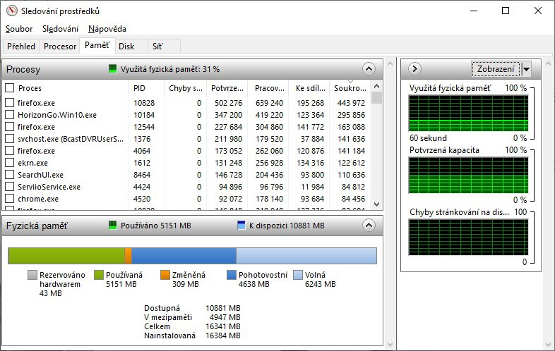Sledování prostředků Windows 10 - 1