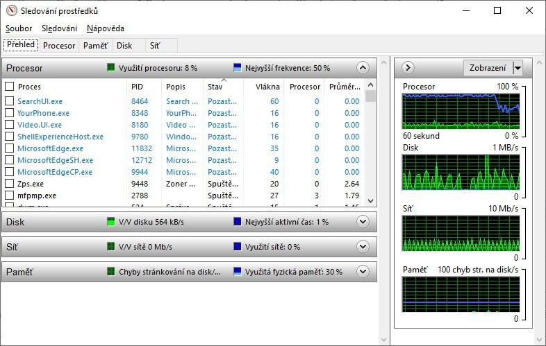 Sledování prostředků Windows 10 - 3