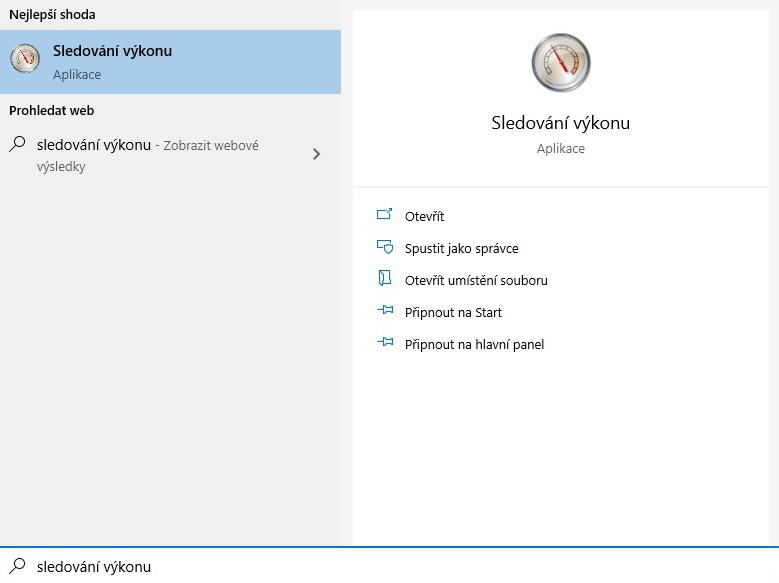Sledování výkonu pc - Windows 10