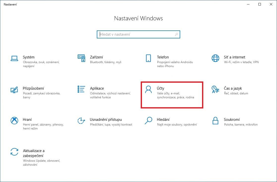 Změna obrázku k vlastnímu účtu ve Windows 10 - 1