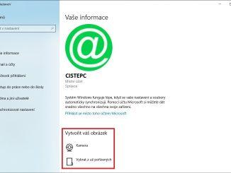 Změna obrázku k vlastnímu účtu ve Windows 10
